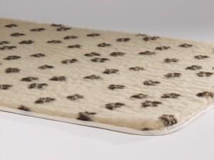 Plaid Beige avec empreintes de pattes pour chien