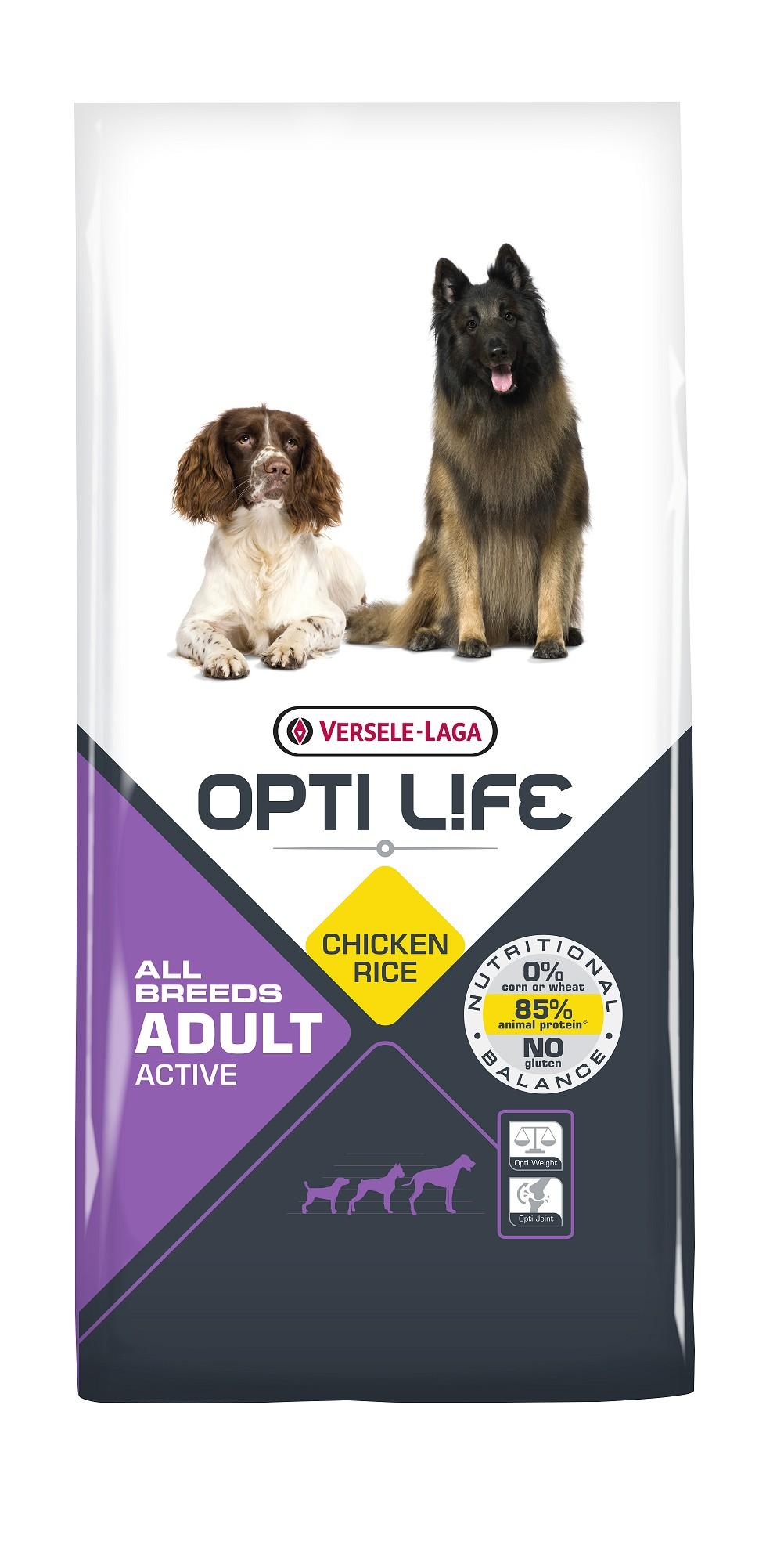 Opti Life Chien Adulte Actif, Poulet & Riz