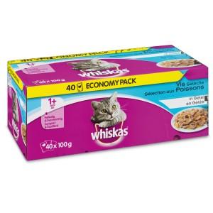 Multipack Whiskas Chat Adulte Poisson en gelée (40 sachets)