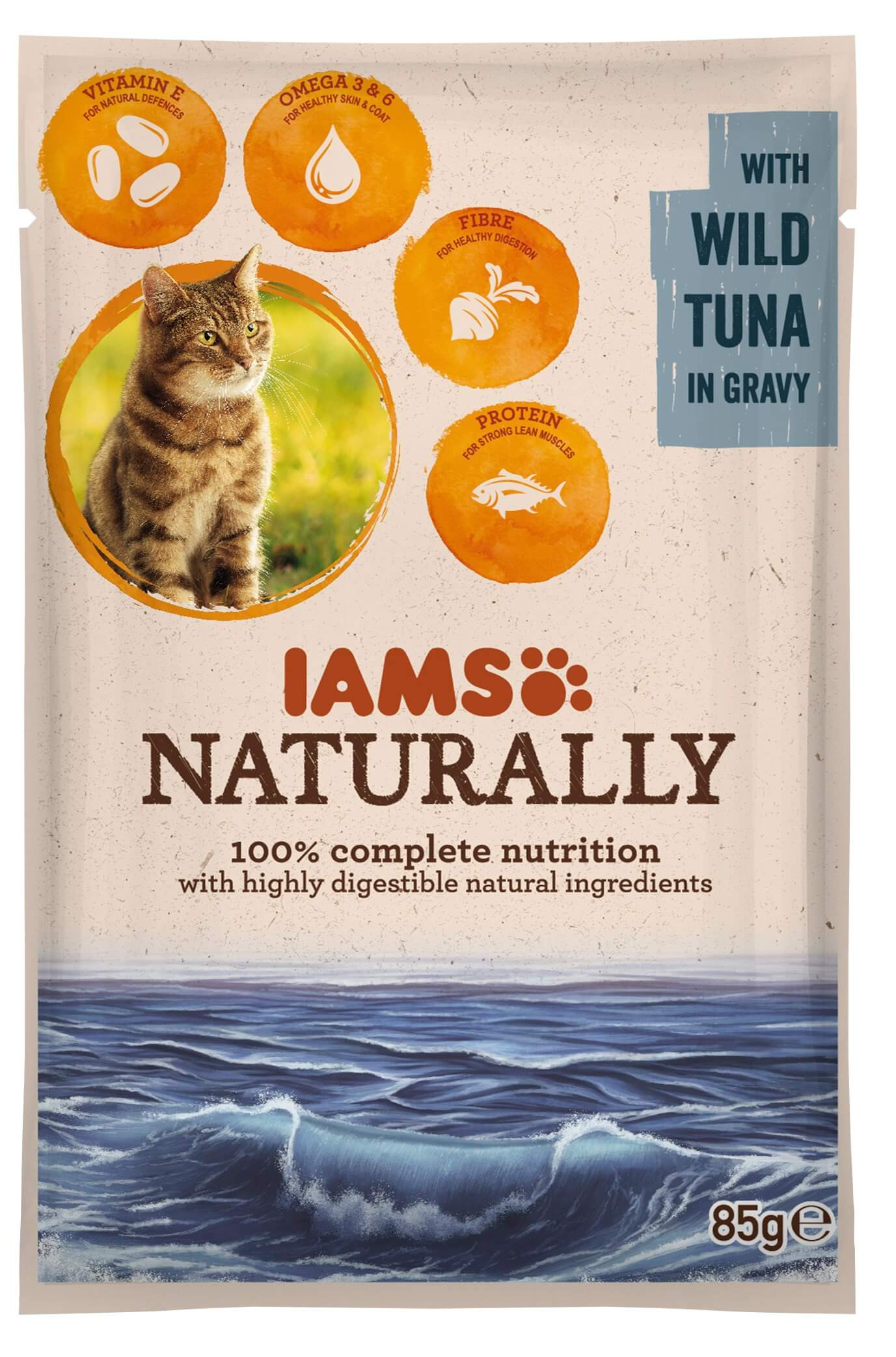Iams Naturally Adulte Thon sacs de 85g pour chat