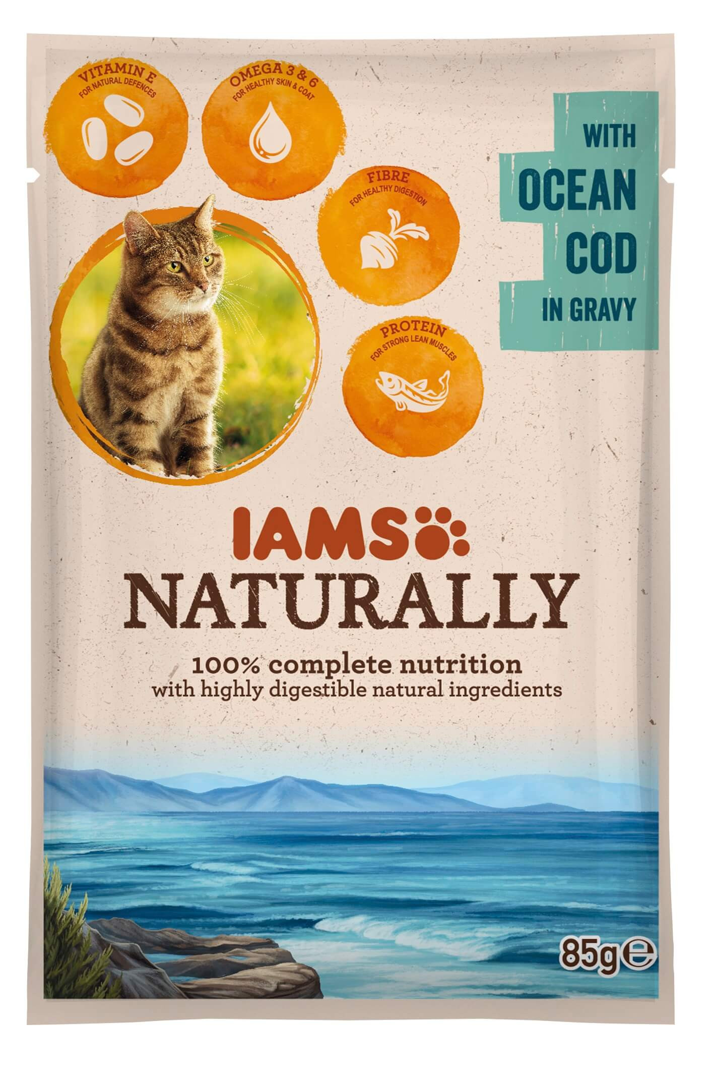 Iams Naturally Adulte Morue sacs de 85g pour chat