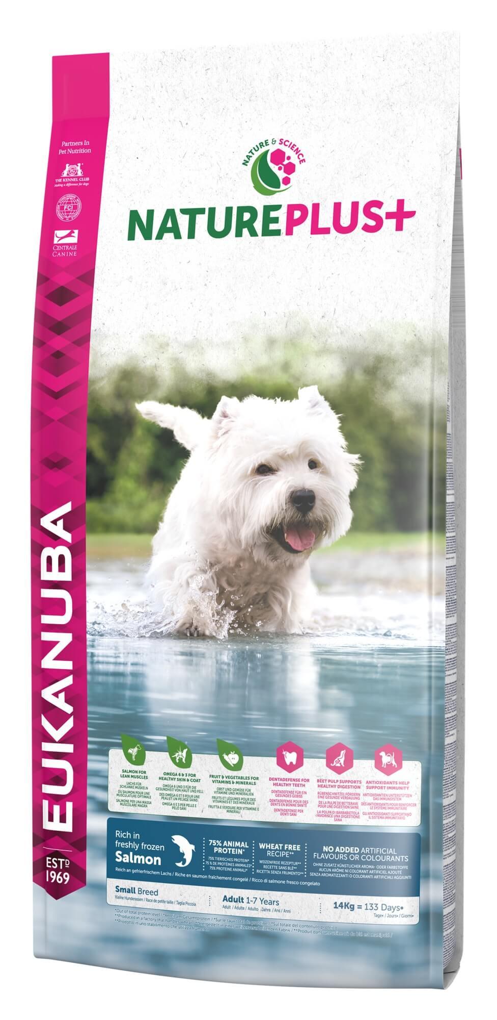 Eukanuba NaturePlus+ Adult Small Breed au saumon frais pour chien