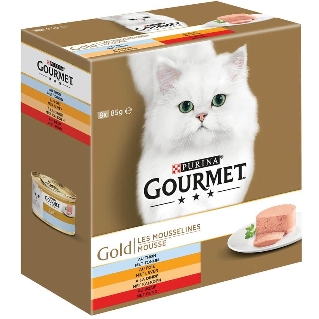 Gourmet Gold 8-Pack Mousseline Thon/Foie/Dinde/Boeuf pour chat