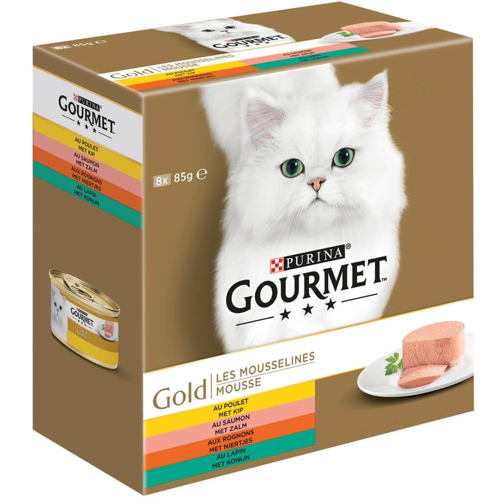 Gourmet Gold 8-Pack Mousseline Poulet/Saumon/Rognons/Lapin pour chat
