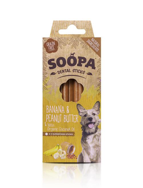 Soopa Dental kauwstaven Banaan & Pindakaas voor de hond