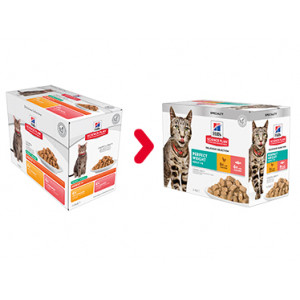 Hill's Adult Perfect Weight Combipack poulet saumon pâtée pour chat 85g