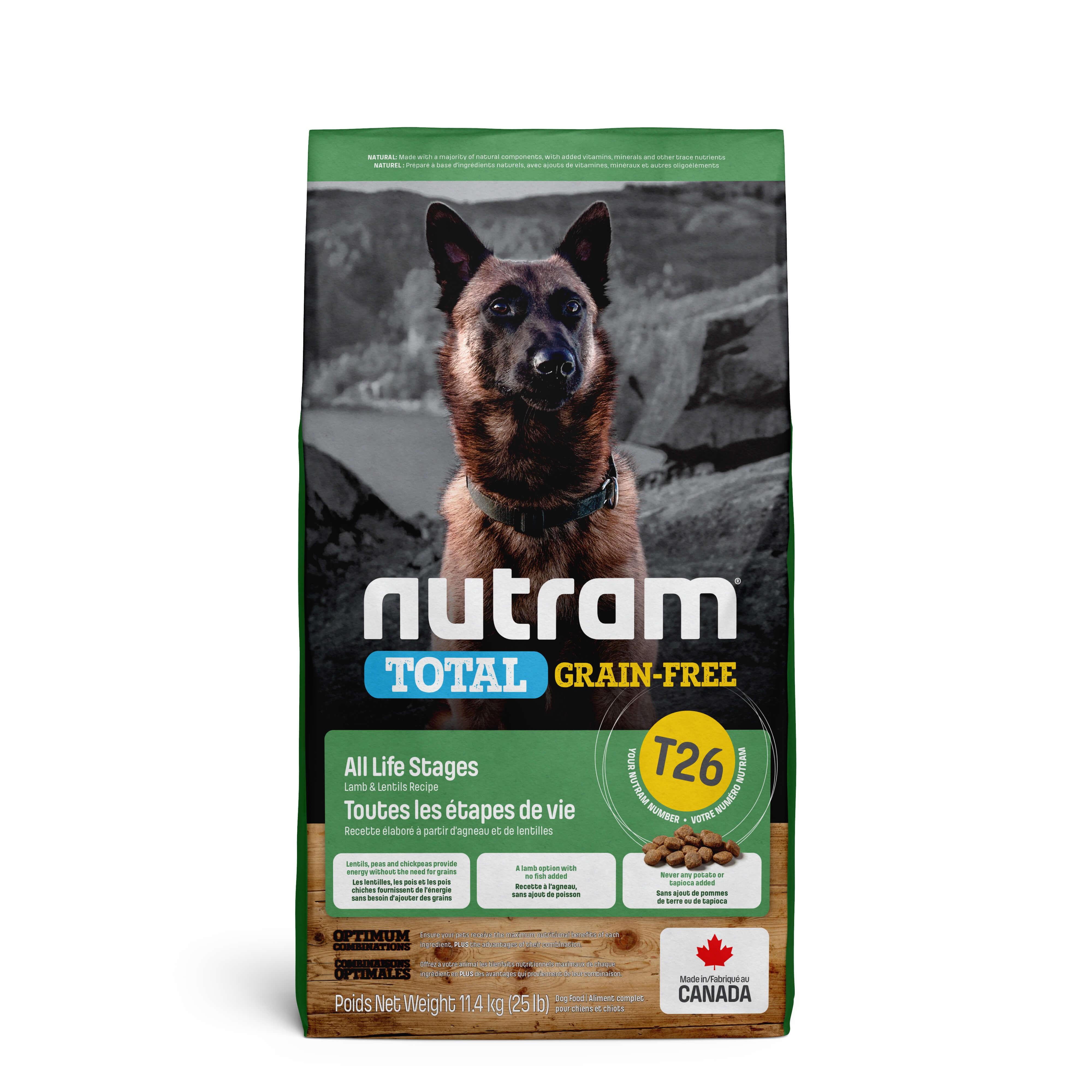 Nutram Total Grain-Free Agneau & Lentilles pour chien FIN DE STOCK