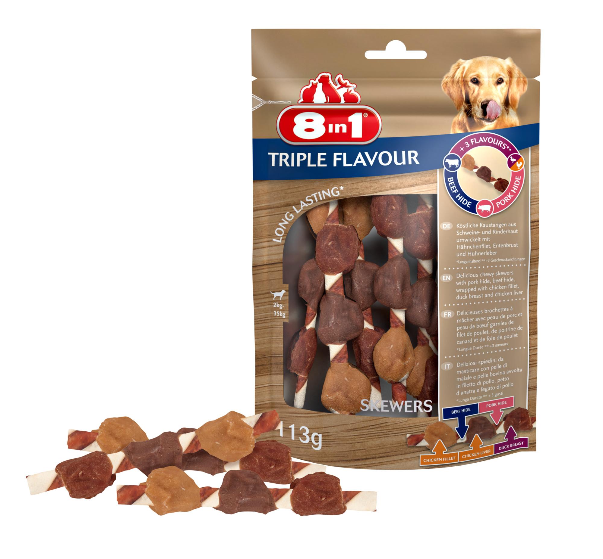 8in1 Triple Flavour skewers hondensnacks