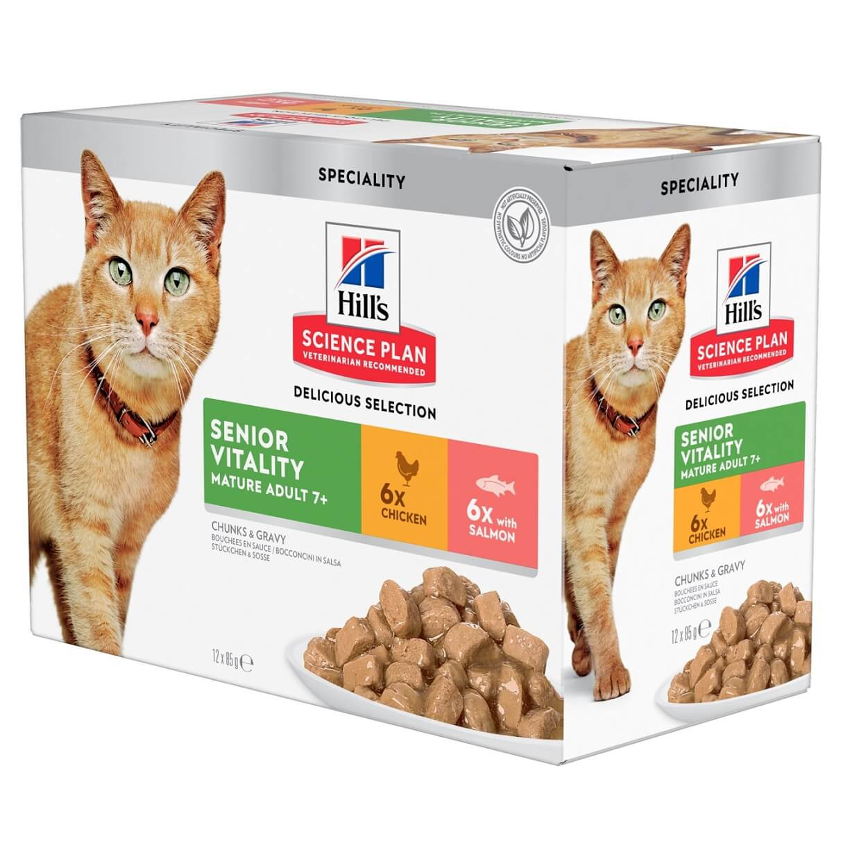 Hill's Mature Adult Senior Vitality pâtée pour chat combipack 12x85g